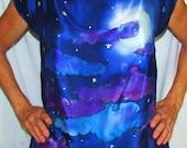 moon silk top tunic, oversized top, silk tunic, Moon Goddess, Silk top, moon top, goddess wear, metaphysical, spiritual, moon tunic, wiccan