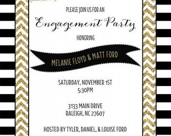 Chevron Gold Striped Engagement Party Invitations