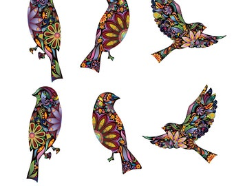 Bird Decals - Set of 6 Flying and Sitting Bird Wall Stickers in Beautiful Floral Pattern (sku: 153-stick)