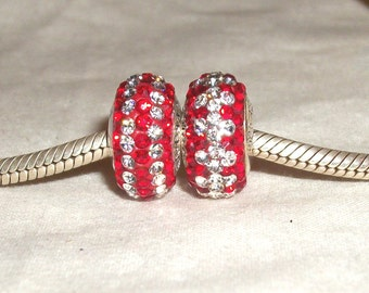 Swarovski crystal and sterling silver european bead-(14 x 8mm) -Red with white-with stripes or diamonds