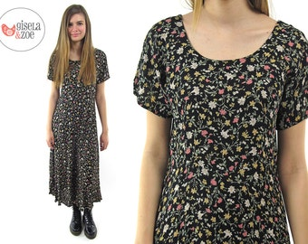 90s Floral Boho Maxi Dress | Pleated Empire Waist Over-Sized Dress 90s Grunge Revival Floral Dress • xs • sm
