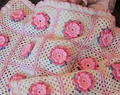 Coming Home Gift. Crochet Baby Girl Rose Blanket and Hat Flower For Stroller, Bassinet or Crib with 3D Flower Roses Perfect For Baby Shower.