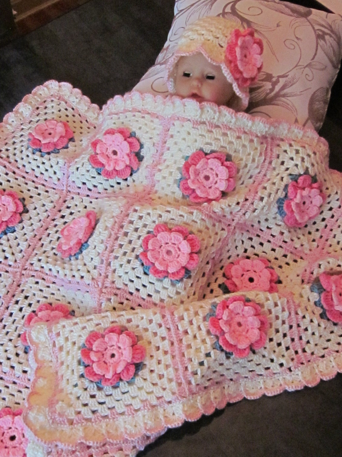 Coming Home Gift Crochet Baby Girl Rose Blanket And Hat