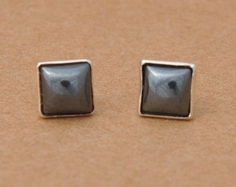 Square Hematite Earrings with Sterling Silver Earring studs, 6mm Gemstones