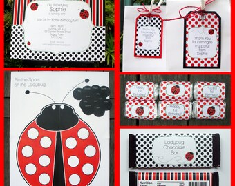 Ladybug Party Invitations & Decorations - full Printable Package - INSTANT DOWNLOAD with EDITABLE text - you personalize at home