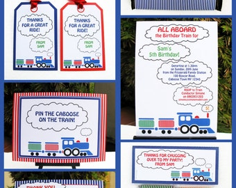 Train Party Invitations & Decorations - full Printable Package - INSTANT DOWNLOAD with EDITABLE text - you personalize at home