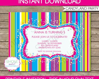 Candyland Invitation Template - Colorful Birthday Party - INSTANT DOWNLOAD with EDITABLE text - you personalize at home