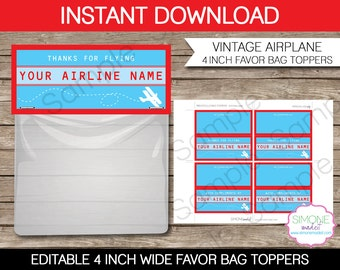 Airplane Party Favors Bag Toppers - 4 inches wide - INSTANT DOWNLOAD with EDITABLE text - you personalize at home using Adobe Reader