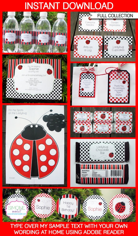 Ladybug Invitation & Party Decorations - full Printable Collection - INSTANT DOWNLOAD with EDITABLE text - you personalize at home