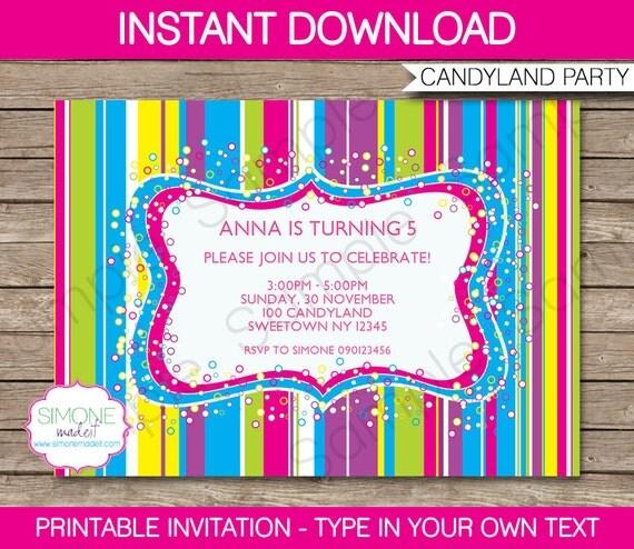Candyland Invitation Template