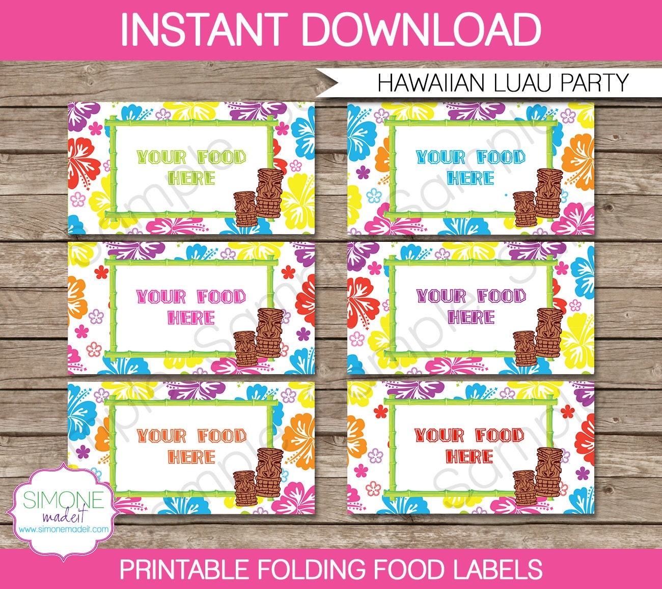Luau Food Labels Buffet Tags Tent Cards Party By SIMONEmadeit