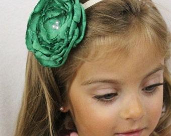 Green Flower Headband - Elastic Headband with Bright Green Boho Chic Flower with Pearls - Green Wedding Flower Girl