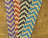Chevron Burlap Jute BOOKMARKS Vintage Buttons Butterflies 4 Colors