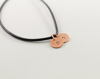 Men necklace: personalized mens jewelry, male two initial necklace, masculine black leather and copper monogram