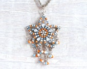 Boho Star Necklace - In Orange Turquoise and Silver