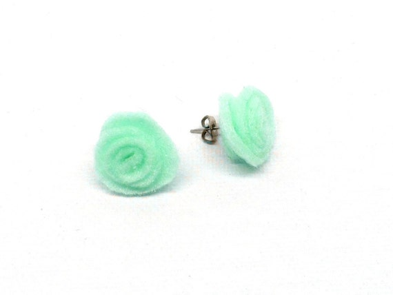 Handmade Mint Green Felt Earrings Studs Post Light Weight  Eco Friendly Earth Friendly Shades of Green, More Colors Available