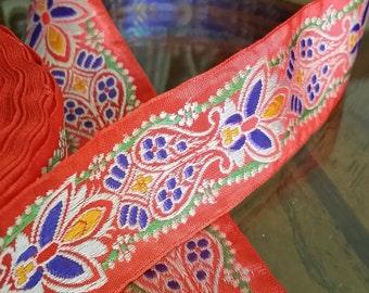 "1.25"" Vintage Palmette Beauty Red Jacquard ribbon trim 404-06"