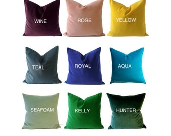 Velvet Decorative Pillow Cover-15 COLOR CHOICES -Medium Weight Cotton Velvet- Invisible Zipper Closure- Knife Or Pipping Edge