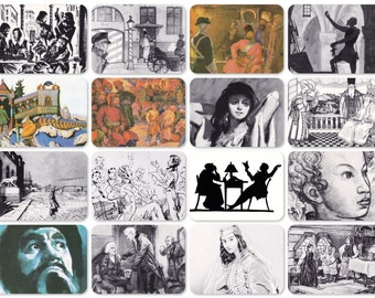 Illustrations for A. Pushkin's works. Set of 16 Vintage Postcards - 1973. Fine Arts Publ., Moscow
