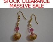 SALE Golden pink pearl rose cake earrings