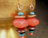 Acrylic faceted earrings, saucer beads, genuine turquoise, wood saucers, wood copper disks, modern, chic, watermelon, summer:Watermelon Ears