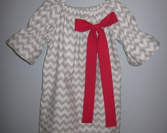 Grey and White Chevron Peasant Dress with Red Bow 6 12 18 24 2T 3T 4T 5/6 7/8 9/10 11/12