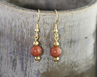 Red Goldstone Earrings - Item 1193