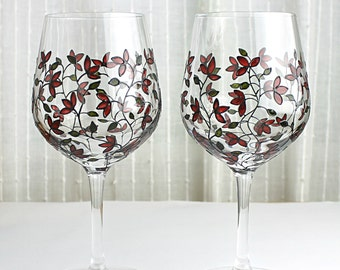 Wine Glasses, Hand Painted Glasses with Tulips, Wedding Glasses, Deep Red Tulips Design, Painted Wine Glasses, Set of 2, Tulip Glasses