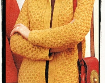 Instant Download PDF A Vintage Knitting Pattern to make A Ladies No Button Ri...