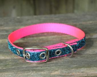Sparkle Dog Collar / Metal Buckle in teal sparkle ribbon/  Girly Dog Collar