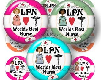LPN Worlds Best Nurse Bottle Cap Images Digital Collage Sheet (No.1) 1 Inch Circles Instant Download