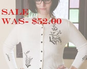 Vintage Embroidered White Cardigan
