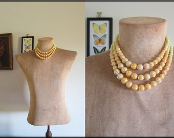 Vtg Sunny Yellow Beaded Necklace