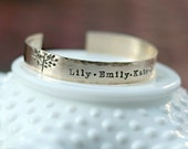 Custom Cuff Bracelet - Personalized Gold Bracelet - Family Tree Bracelet