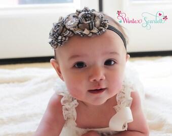 baby headband, Tan plaid shabby chic flower headband, baby headband, newborn headband, baby girl headbands, baby headband