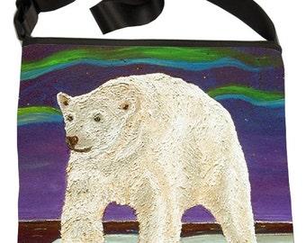 Polar Bear Large Bucket Handbag by Salvador Kitti - From my Original Oil Painting, Elusive Wonder