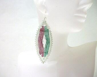 Beadwoven Leaf Dangle Earrings in Pink, Green with Swarovki Crystal & Sterling SilverPlated Earwires.  EBW007.