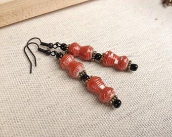 Brown & black Paper bead earrings ~ Reduced
