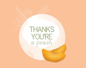 Peach and Floral Thank You Notecard