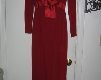 VINTAGE 1960'S RED Empire Evening Gown Retro Mod Berry Red Dress