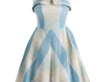 SALE Beautiful 1950s Inspired, Silk Taffeta,  Pale Blue and Yellow Check, Strapless Prom/Bridesmaid dress