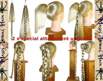 2 x CUSTOM Fishtail ATTACHMENT - UPGRADE for 2 Plaits, Rapunzel Braids, Hair Extension, Hair Fall, Ponytails, long fantasy hair wigs