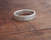 Sterling Silver Wedding Band. White Gold Wedding band. Unisex. 14k gold pin detail. Recycled Eco friendly