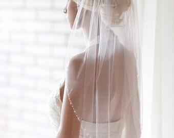 """Beaded wedding veil, silk tulle veil, white Fingertip silk veil, ivory veil, bridal veils, beaded wedding veils, silk veil """"Rebecca"""""""