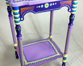 SOLD sample of CUSTOM WORK- Vintage Side Table- Custom Hand Painted Furniture Made to order