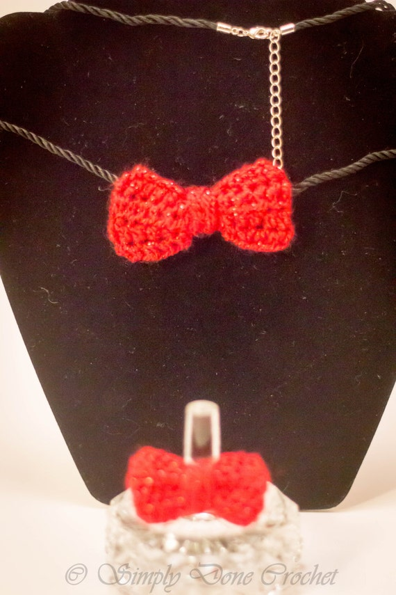 Handmade Crocheted Red Bow Necklace