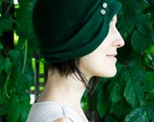 1920s Hat-  2-Button Cloche, Emerald & Navy with Vintage Buttons