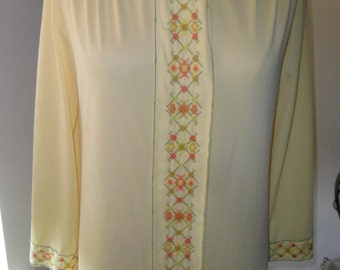 Vintage Robe Nylon Dressing Gown Yellow Full Length Size 32/34