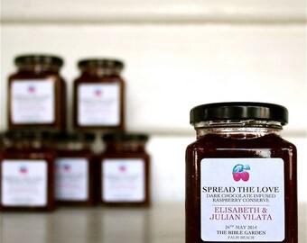 No.4 - Wedding Favor - Spread the Love Dark Choc Infused Raspberry Jam, Personalised Favor, Custom Labelled Bomboniere, Wedding Jam