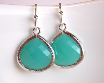 Blue Earrings, Mint Blue, Glass Earrings, Aqua, Turquoise, Bridesmaid Jewelry, Silver, Bridesmaid Earrings, Bridal Jewelry, Bridesmaid Gift